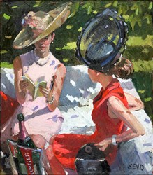 Society Ladies by Sherree Valentine Daines - Varnished Original Painting on Board sized 14x16 inches. Available from Whitewall Galleries